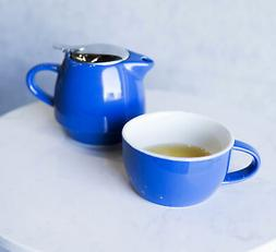 Glossy Blue Contemporary Ceramic Stackable Teapot Set Single
