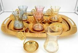 Gold color Set of 6 tea cups with metal saucer, cup holder &