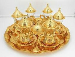 Gold color Set of 6 tea cups with metal saucer, tray and lid
