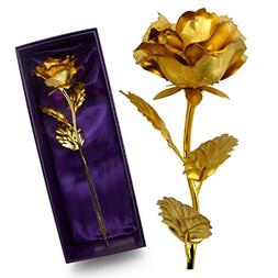 NEW BARLEY 24K Gold Foil Artificial Rose Flower Birthday Gif