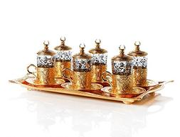 Gold Plated Turkish Tea Set for Six People with Tray