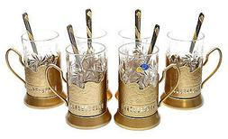 GOLD Set of 6 Russian Vintage Crystal Tea Glass & Handmade H