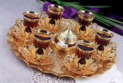 Gold Colour Turkish Tea Set for Six People with Tray Turkish