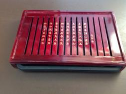 Gong Fu Tea Tray with Pull Out Part Solid Wood Red Painted B