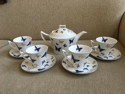 Teavana Gossamer Butterflies 9Pc Tea Pot Set with 4 cups and