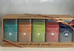 Gourmet Green Tea Bag Gift Set 5 Tins FIVE FLAVOR Apple Lemo