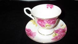 "Gracie Bone China ""Grace's Rose"" Tea Cup and Saucer Set - MA"