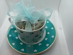 Grace's Teaware Porcelain Cup & Saucer Set ~ White&Teal Hear