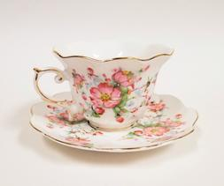 Grace's Teaware Tea Cup And Saucer Set  Pink And White Flowe
