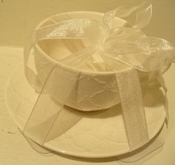 GRACE'S TEAWARE White Tea Cup & Saucer Set, Raised White Lat