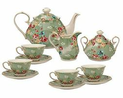 Gracie China by Coastline Imports Shabby Rose Green 11-Piece