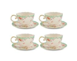 Gracie China Vintage Green Rose Porcelain 7-Ounce Tea Cup an