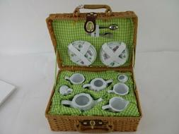 Delton Products Green Bumble Bee Porcelain Tea Set for Two i