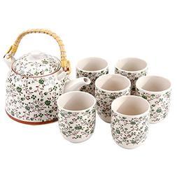 Green Rose Japanese Tea Service Set with Bamboo Handle Teapo
