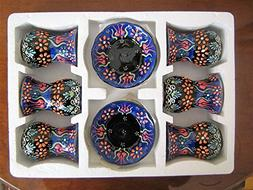 12 Pcs Full Hand Made Decorative Ceramic Turkish Tea Set Til