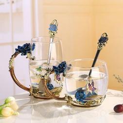 Handmade Enamel Flower Crystal Glass Coffee Tea Cup Mug Tumb