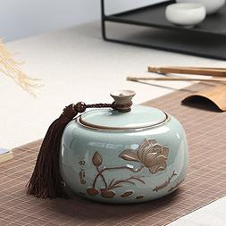 Dehua Porcelain Handmade Tea Canister, Ge Kiln Porcelain Tea
