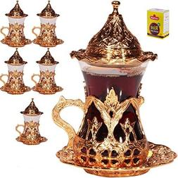 Handmade Turkish Tea Water Zamzam Serving Set Glasses Sauce