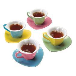 Heart-Shaped Cups & Saucers Set - 8 Piece Set, Pastel Valent
