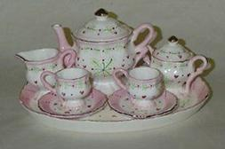 Hearts and Swirls Design White Porcelain Childrens Tea Party