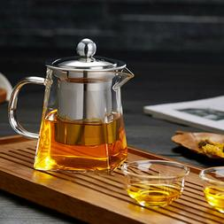 Heat Resistant Glass Teapot with Strainer Filter Infuser Tea