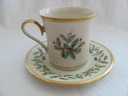 Lenox Holiday Coffee & Tea Mug Cup & Saucer Set Holly & Berr