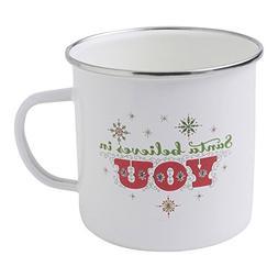 """Hallmark Home Holiday Vintage Inspired Enamel Mug, White """"Sa"""