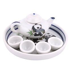 uxcell Home Ceramic Pandas Bamboo Printed Mini Plate Teapot