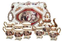 Euro Porcelain 12-Pc. HQ White Vintage Tea Cup & Serving Set