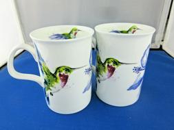 HUMMING BIRD, Fine Bone China Pair Tea 10oz mugs, Made in En