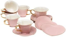 Yedi House Inside Out Heart: Cup & Saucer 5 oz - Pink/Gold,
