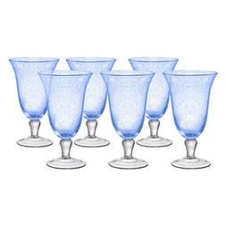 Artland Iris Seeded Light Blue 18 Ounce Footed Iced Tea Glas