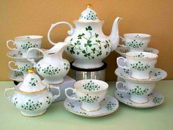 Irish Shamrock or Music Notes Pattern Adult Size 15pc Tea Se