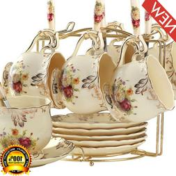 ivory ceramic tea cups set 6 pack