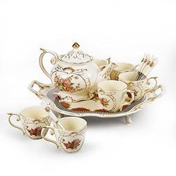 Panbado 14-Piece Ivory China Gold Rimmed Coffee Tea Set Hand