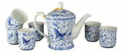 7 Pcs Premium Ivy Butterfly Blue and White Tea Set Fine Tall