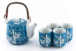 Japanese Asian Lucky Bamboo Blue and White Design Tea Set Ce