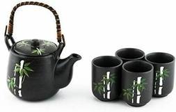 Japanese Asian Lucky Bamboo Design Tea Set Ceramic Teapot wi