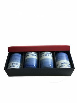 """Japanese Blue Fish Design 4"""" Tea Cup Set in Gift Box"""