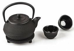4 piece Japanese Cast Iron Pot Tea Set Black w/ Trivet