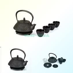 6 piece Japanese Cast Iron Pot Tea Set Black w/Trivet