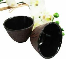 Japanese Cast Iron Tea Cups Set of Two Bamboo Design Red Bur