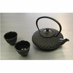 Japanese Cast iron Tea pot Tea set / Mochi Black