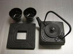 Japanese Cast Iron Teapot Tea Set Dragonfly #ts6-06bk S-2089