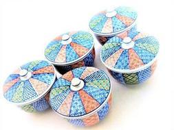 JAPANESE CERAMICS  5 Tea Cups  with lids 5- set Made In Ja