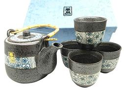 Japanese Design Charcoal Grey W/ Cherry Petals Ceramic Tea P