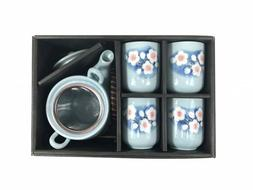 Japanese Design Blue Blossoming Sakura Tea Pot and Cups Set