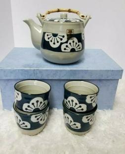 Japanese Design Blue Floral Tea Pot and Cups Set Home Decor