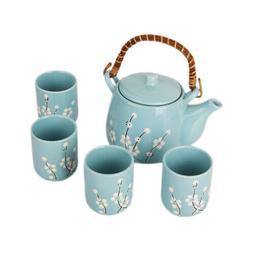 Japanese Design Blue Plum blossom Tea Pot and Cups Set Japan