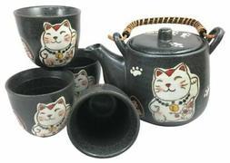 Japanese Design Maneki Neko Ceramic Tea Pot and Cups Set Hom